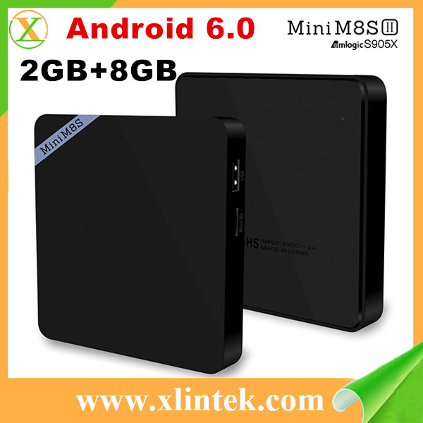 Newest hd digital tv set top box Mini M8SII customized launcher Android 6.0 Amlogic S905X quad core android tv box