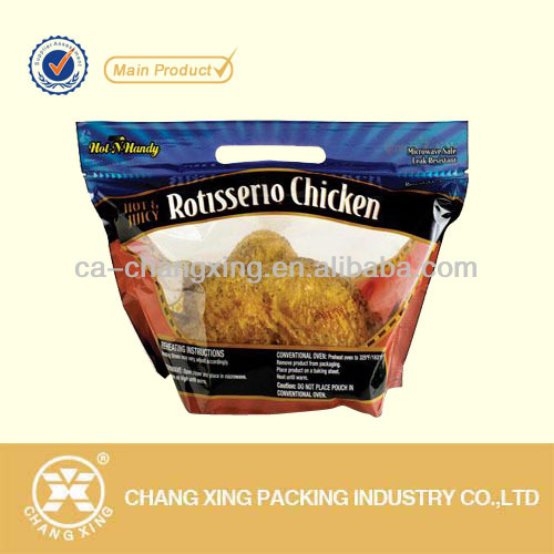 Printed transparent frozen/roasted chicken packaging bag with punch handle