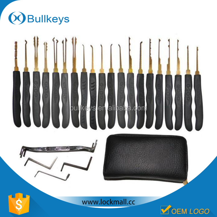 Bullkeys open doors tools 20 piece goso locksmith tool lock pick set with leather pouch LP0040