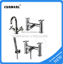 Double Handles Mono Bathroom Taps Basin Faucets with Bath Filler and Bath Shower Tap