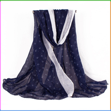 Oblong Anchor Printed Hot Selling Spring Summer Scarf Voile Scarf Shawls
