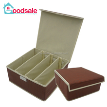 Wholesale Embossing Non-woven Fabric 4 solts bra organizer case collapsible tie underwear storage box with lids