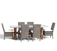 hotel resort wooden dining table rattan chairs garden treasures outdoor furniture