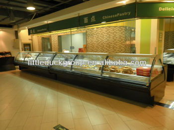Glass cover Service refrigerator for meat and deli
