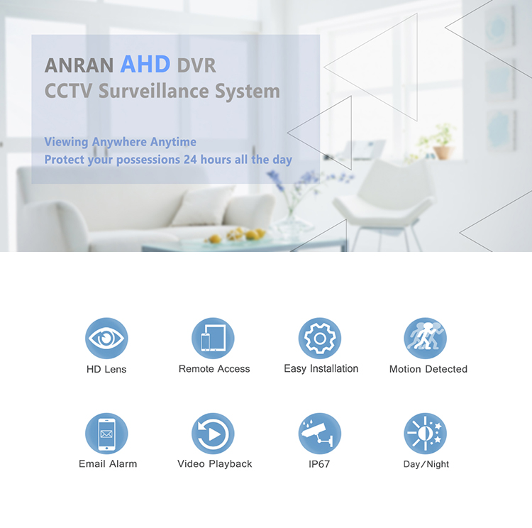 Anran 24 Channel 720p Analog cctv security camera remote control H.265 CCTV DVR System