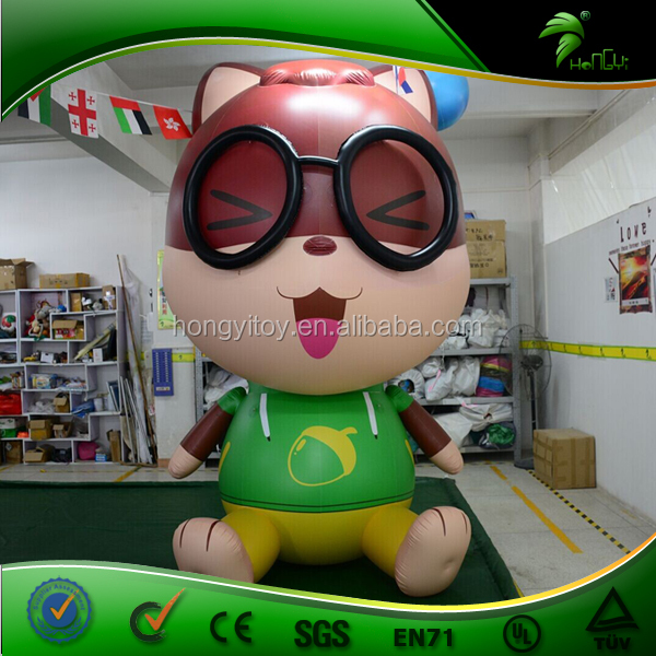 2016 Hot Inflatable Cartoon squirrel with a Glass For Advertising / Inflatable Animal Toys