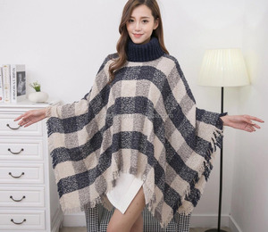 2018 Fashion new coming lady winter beige jacquard acrylic checked crochet tartan plaid shawl