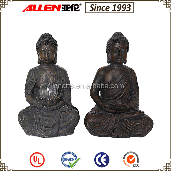 Household sitting buddha holding a glass candle cup 11.0*8.7*16.3 inch laughing buddha statues