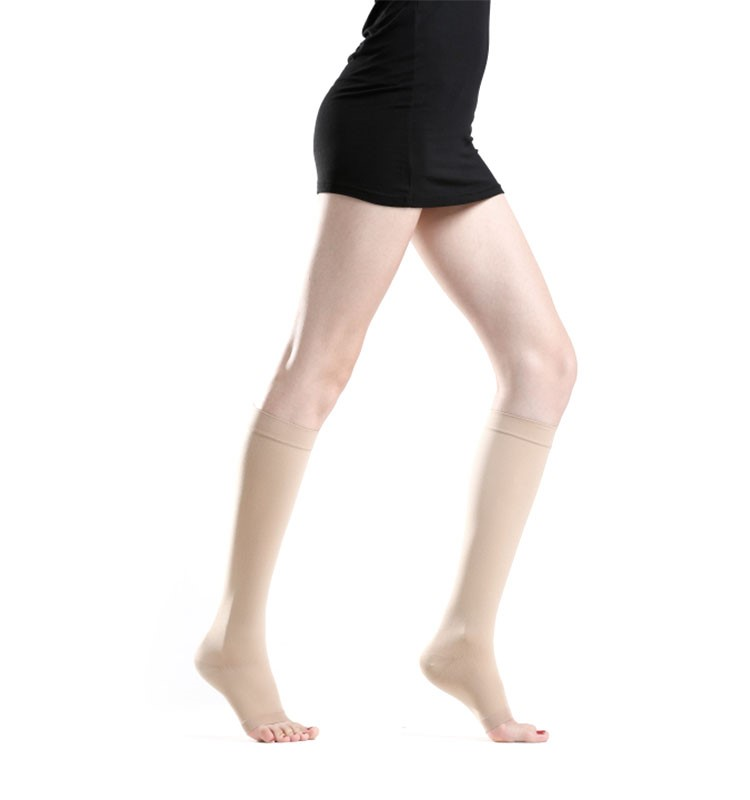 medical compression stockings knee length open toe with FDA certificate