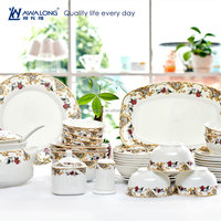50pcs Tableware Bone China european style elegant design Porcelain Dinnerware Set, Royal ceramic Tableware
