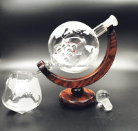 antique glass wine decanter/The Wine Savant Etched World Globe Decanter with Antique Ship
