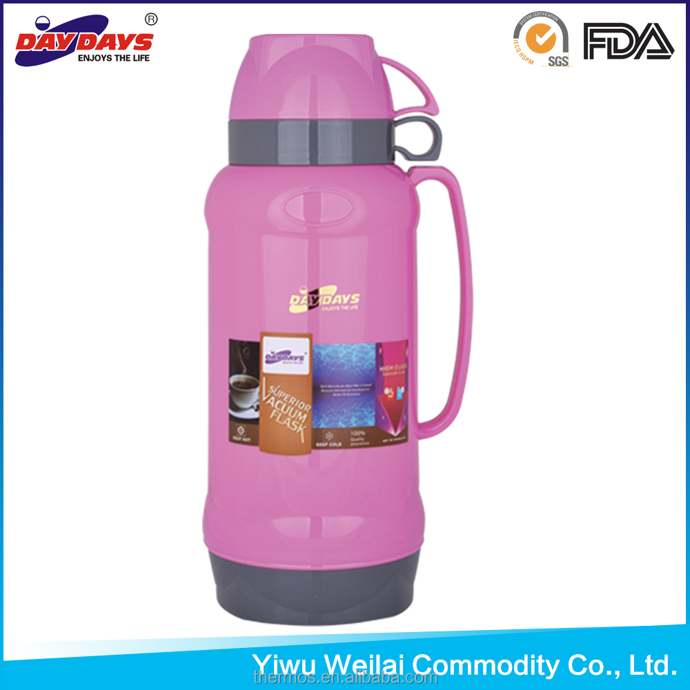 1000ml Glass Water Bottle Two Cups Thermos Vacuum Flask Plastic Thermos China Manufacturer