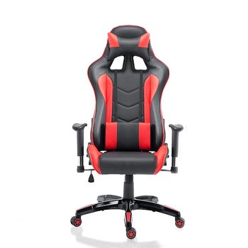 Hot Sale Ergonomic High Back Swivel Racing Style Computer Chair with Headrest and Lumbar Support Pillow - Black/Red