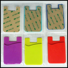 Customized logo printed silicone credit card holder wallet for mobile phone