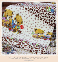 Flannel Fleece Blanket Super Soft Double Sides Fur cartoon two brothers teddy bear pattern design bright color children Blanket