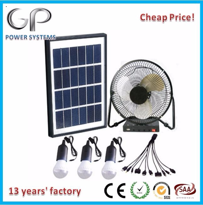 [GP]new style dc fan 3W LED lithium battery solar energy light kit mini home power systems