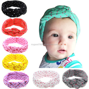 HAOXIE Fashion dot patten girl headband hair bows for wholesale/hair elastic band/Girls' Hair Decoration