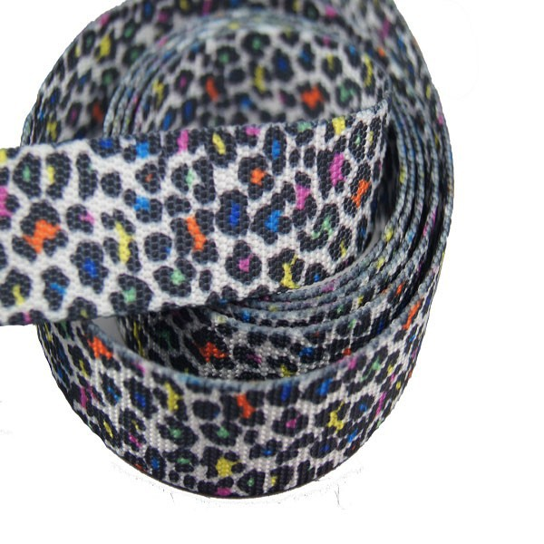 fashion Leopard printing polyester nylon webbing ribbon for no_pull dog training package