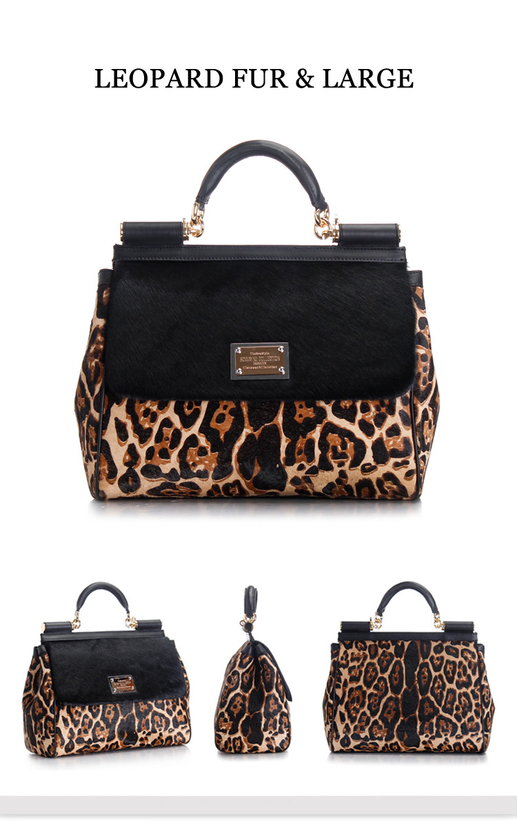 New Design Color Matching Leopard Print Horse Fur Leather Handbag for Ladies