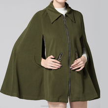 Women Fashion Coats 2016 Autumn Wool Blends Vintage Outerwear Sexy Batwing Sleeve Lapel Outwear Zippers Solid Long Cloak Tops
