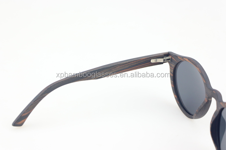Handmade Custom Brand Names Round Ebony Wood Women Sunglasses With Polarized Lens