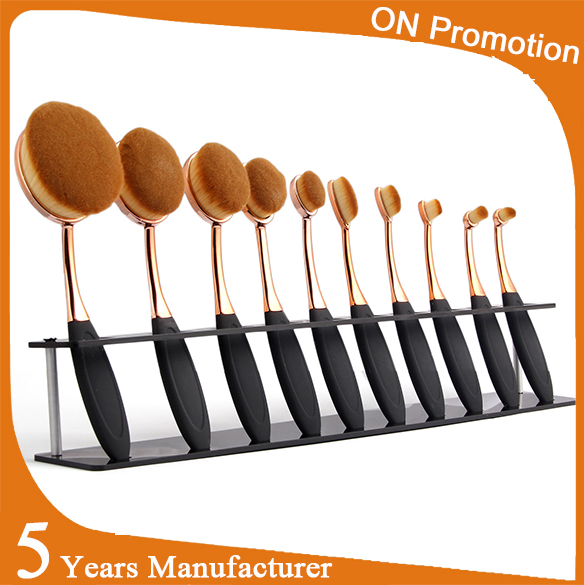 2016 Private Lable Cosmetics Golf Make Up Brush Kit New Fashion Girls Tops Rose Gold Oval Toothbrush Makeup Brush Set for Makeup