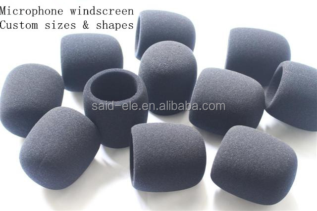 Wireless microphone windscreen sponge cap at custom size and shapes for foam windscreens