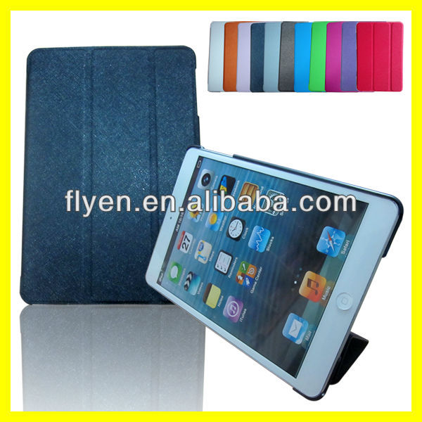 TRI-FOLD LEATHER CASE FOR IPAD MINI1/2 Tri Fold Folio cross ppttern Smart Leather Case Cover for Apple iPad mini1/2