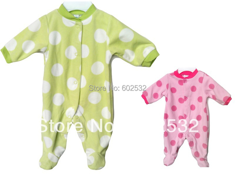 NEW Retail baby clothes Infant sleepwear newborn big Dot Romper baby Long-sleeved Fleece jumpsuit 0-9 months