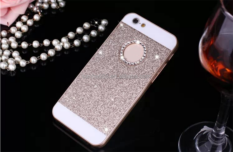 Luxury Glitter powder phone case and PC Hybrid glitter case for iphone 5 5s Hard back cover for iphone6s plus Rhinestone case