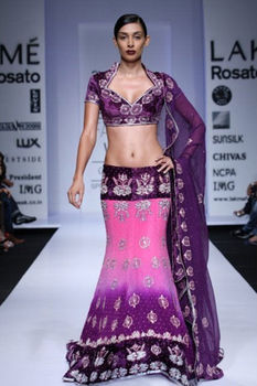 Purple silk hand embroidered Lehenga choli