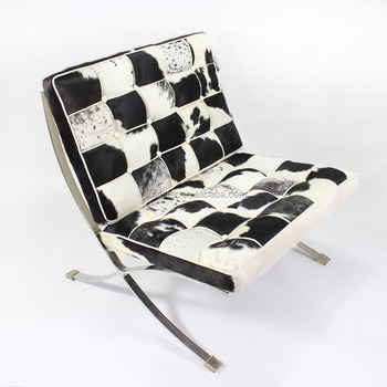 high quality single seat chair pony cowhide leather barcelona sofa