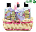 Essential Rose& Lavender skin care products in willow basket