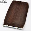 No Shedding No Tangle 100% Human Hair Extension Hand Tied Pu Skin Weft