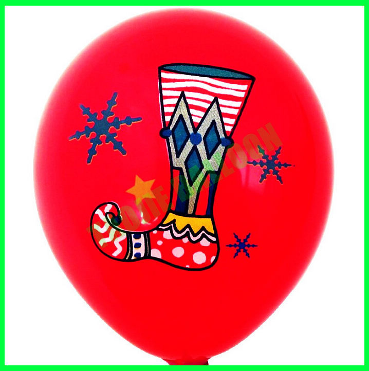 12 inches sock printed Christmas Balloons for party decoration
