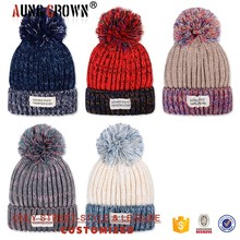 Acrylic Multi-colored Knitting Pattern Winter Beanie Cap with Top Ball