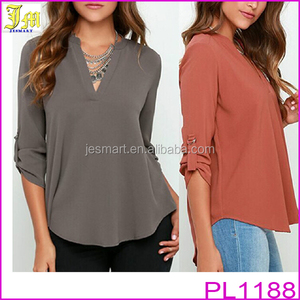 2016 New Fashion Women V Neck Solid Chiffon Blouse Sexy Lady Long Sleeve Casual Blouses Tops