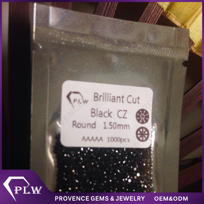 AAAAA Quality 1mm - 2mm Brilliant Cut Synthetic Black Fire CZ For Body Jewelry