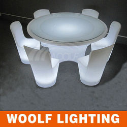 white plastic rotating round home furnishing led dining table