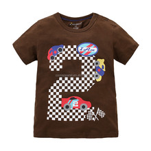 Wholesale white plain color kids summer t shirt cjildrens brown t shirt