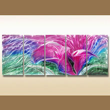 colourful purple flower painting on aluminium