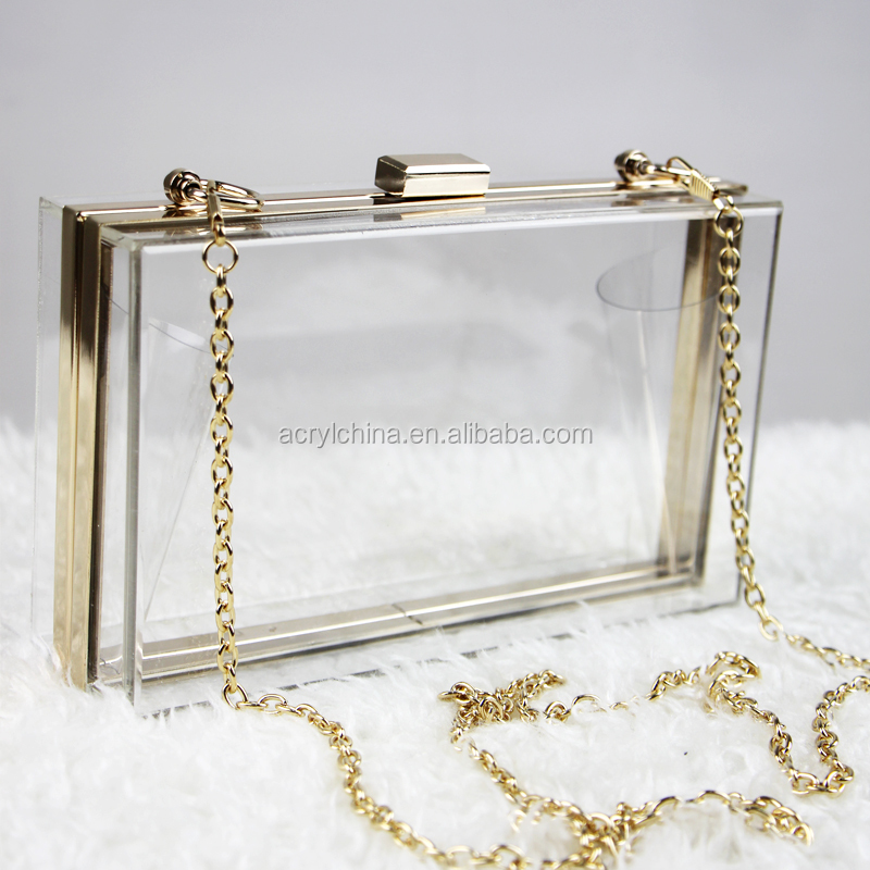 HQdeal Luxury Acrylic Fashionable Transparent Evening Clutches Clutch Bags Handbag for Women Ladies Gift Ideal