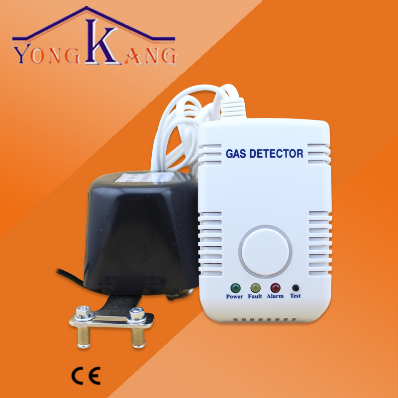 220V Wireless /Wired Gas Detector Alarm with Solenoid for Smart Home System