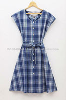 Blue Grey Plaids Japanese VTG Cross Back Bow Tie Casual Sun Day Dress