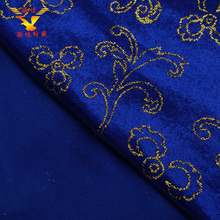 Factory supplier good quality floral flocking printed silk velvet fabric material