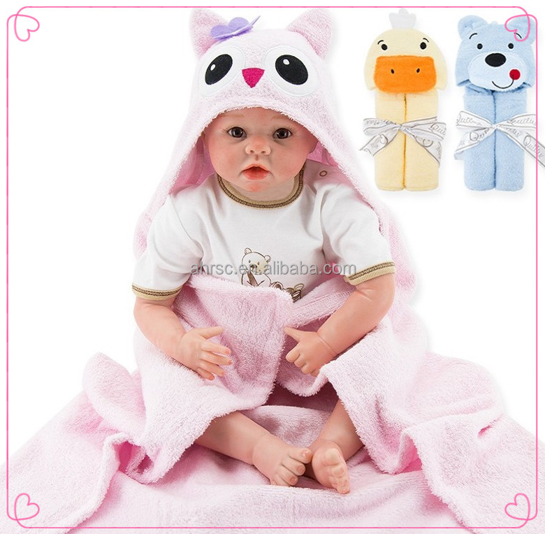 New design cotton fabric animal shape baby terry hooded bath towels