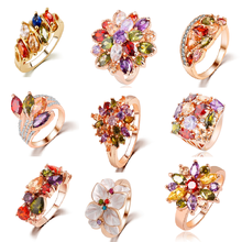 earrings jewelry fashion gemstone multi color yellow gold lotus flower sunflower 18k yellow gold diamond zircon rings