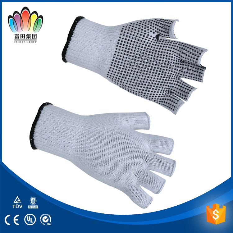 PVC dots single side dotted natural white cotton working glove