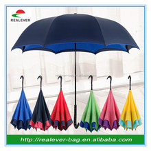 Auto close reverse car umbrella upside down double layer inverted umbrella