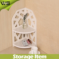 home decorative pure white wooden corner shelves, 2 tiers hollow waterproof wpc material plastic stacking shelf